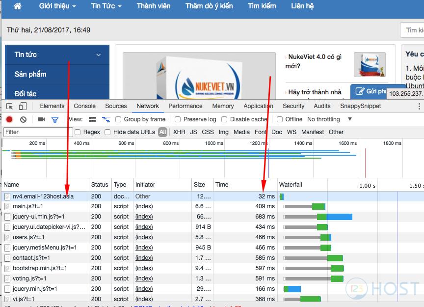 Click vào request tên nv4.email-123host.asia sẽ thấy thông tin header có  tên X-LiteSpeed-Cache:hit . Đây là thống báo hệ thống đã cache thành công.